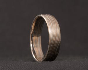 Palladium, White and Red Gold Mokume Gane Ring