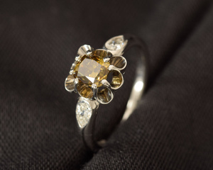 Natural Fancy Green Yellow Diamond, Pear-Shape Diamonds & Platinum Dress Ring with French Style Setting