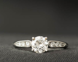 Diamond & Platinum Four Claw Engagement Ring with Diamond Set Shoulders