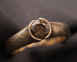 Fancy Deep Olive Brown Diamond & Mokume Gane Engagement Ring
