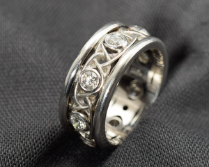 Diamond and Platinum Celtic Style Eternity Ring