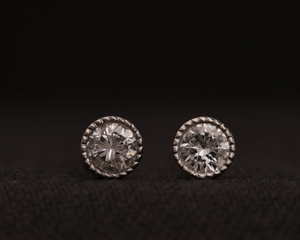 Diamond and White Gold Earrings with Millgrain Edge