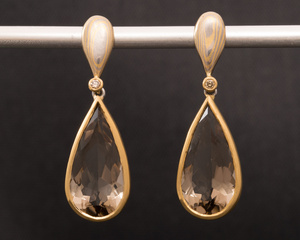 Smokey Quartz, Diamond Mokume Gane and Yellow Gold Hanging Earrings
