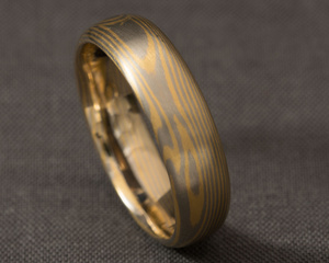 White and Yellow Gold Mokume Gane Ring
