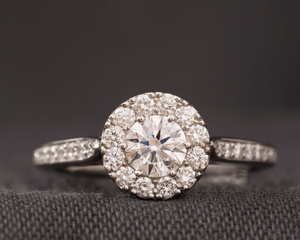 Diamond & Platinum Cluster Engagement Ring