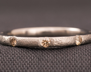Natural Colour Brown Diamond and White Gold Eternity Ring with Texture