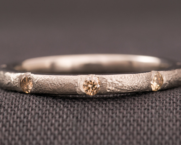 Natural Colour Brown Diamond And White Gold Eternity Ring