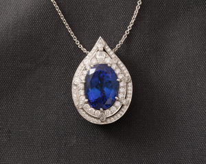Oval Tanzanite and Pear Shaped Diamond Cluster Pendant