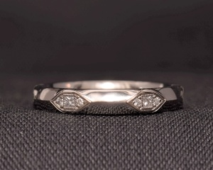 Diamond and Platinum Eternity Ring with Geometric Detail