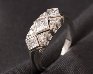 Princess Cut Diamond & Platinum Art Deco Style Three Stone Ring
