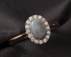 Opal & Rose Gold Cluster Dress Ring