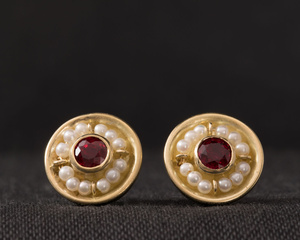 Burmese Ruby and Freshwater Pearl Yellow Gold Earrings