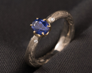 Colour Changing Oval Sapphire, Diamond, White & Yellow Gold Engagement Ring