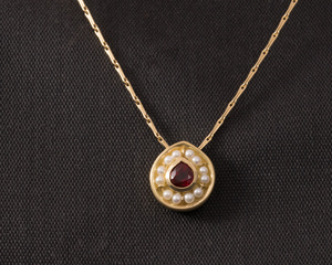 Ruby and Freswater Pearl Drop Shape Pendant