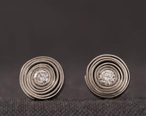 Diamond & Palladium Spiral Studs