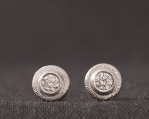 Textured 18kt White Gold and Diamond Studs