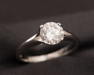 Diamond & Platinum Four Claw Engagement Ring