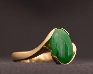 Jade & Yellow Gold Crossover Dress Ring