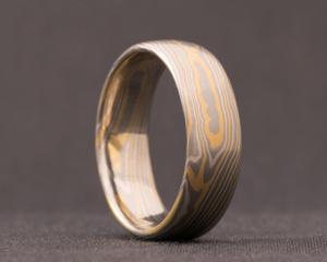 Palladium, White and Yellow Gold Mokume Gane Ring