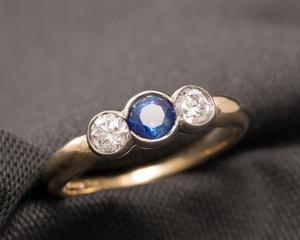 Sapphire, Diamond, Yellow Gold & Platinum Three Stone Engagement Ring
