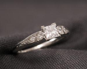 Princess Cut Diamond & Platinum Engagement Ring with Engraved Shoulders