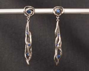 Sapphire and Palladium Hanging Vine Earrings