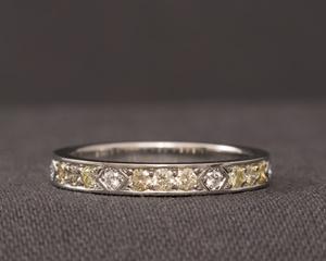 Yellow and White Diamond Platinum Art Deco Style Eternity Ring