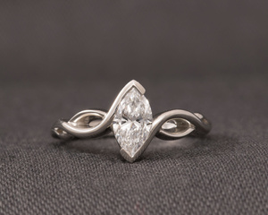 Marquise Cut Diamond, Platinum & Celtic Style Engagement Ring
