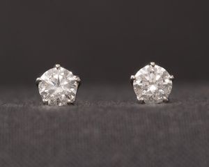 Diamond and Platinum Five Claw Earrings