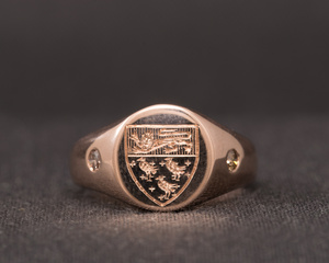 Canterbury Crest, Diamond & Rose Gold Signet Ring