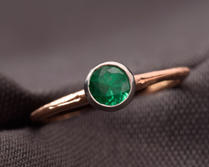 Emerald and Rose Fairtrade Gold Dress Ring