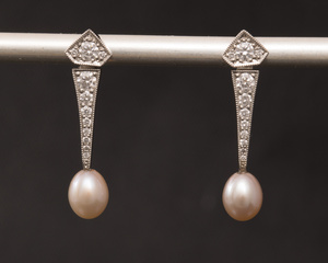 Freshwater Pearl and Diamond Art Deco Style Earrings