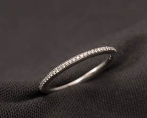 Diamond & Platinum Slim Wedding Ring