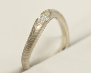 Marquise Diamond & Mokume Gane Engagement Ring