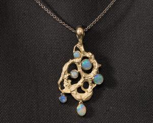 Opal & Gold Cuttlefish Textured Pendant