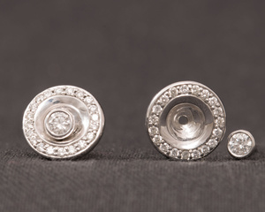 Diamond & White Gold Studs with Diamond Disc Attachments