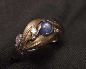 Star Sapphire & Diamond Mokume Gane Engagement Ring