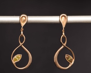 Diamond and Red Gold Vine Earrings
